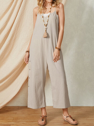 Plain Button Casual Cami Jumpsuit