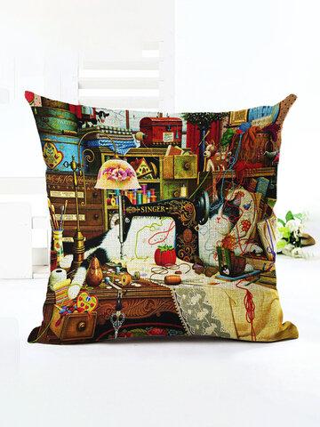Retro Style Cats Linen Cotton Cushion Cover