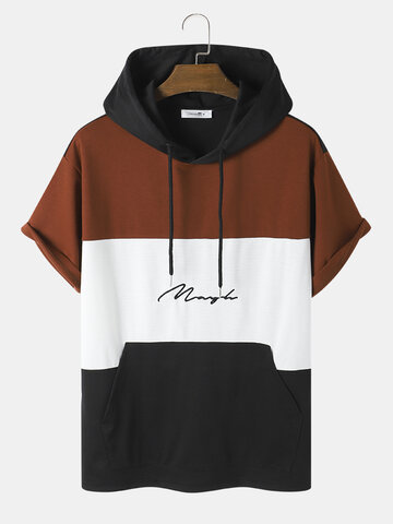Embroidery Patchwork Hooded T-Shirt