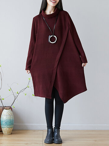 Solid Color Cross Wrap Dress