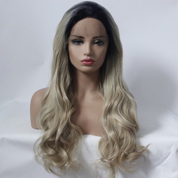 Gradient Black Gold Long Curly Wig, Inches
