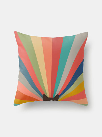Black Cat And Colorful Striped Pattern Linen Cushion Cover Home Sofa Art Decor Throw Pillowcase