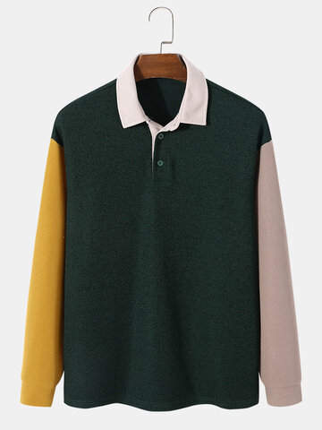 Patchwork Knitted Golf Shirts