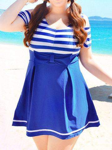 Taille Plus Stripe Bowknot Backless Wireless Swimdresses For Women