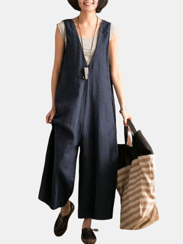 Pure Color Sleeveless Jumpsuits