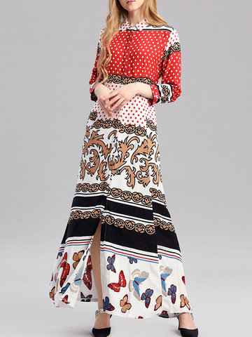 Ethnic Print Dress For Women, Red