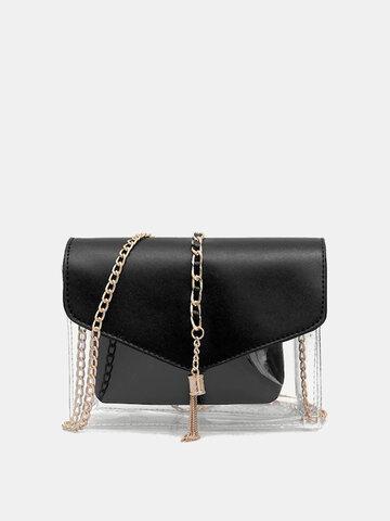 Women 2PCS Metal Tassel Clear Bag