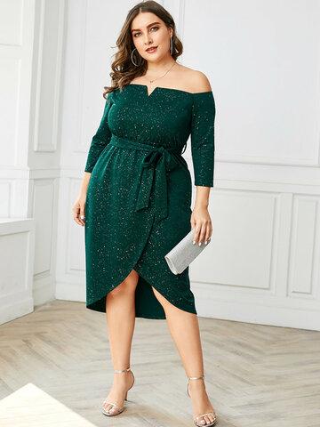 Asymmetrical Sequins Party Dress