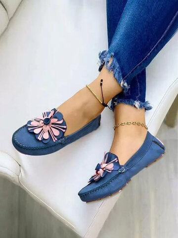 Flowers Decor Hand Stitching Loafers