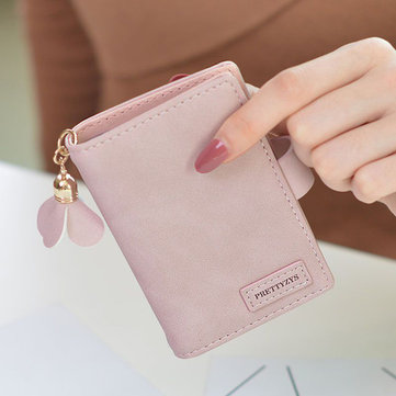 Women Candy Color Tassel Small Wallet