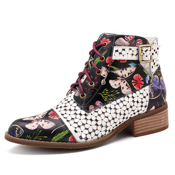 Ink Painting Zipper Boots
