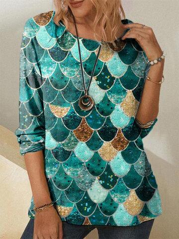 Повседневная блузка с блестящим принтом