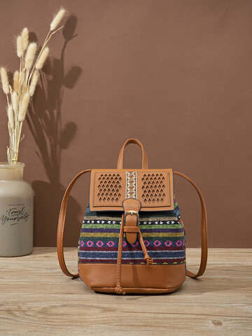 Ethnic style Straw Bag backpack