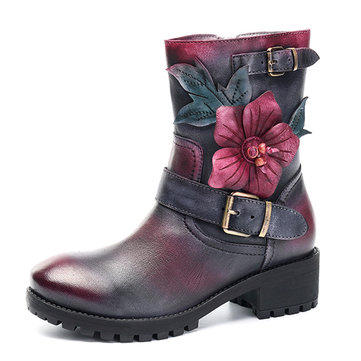 SOCOFY Ankle Leather Boots