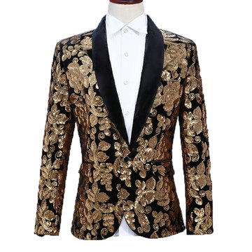 Floral Sequin Stage Wedding Dress Blazer