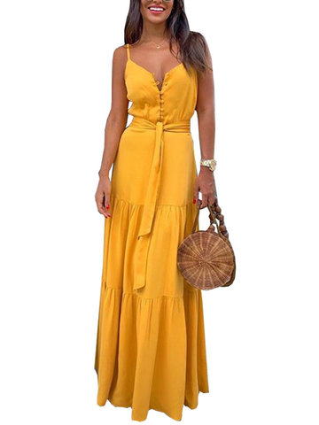 Vestido Bohemian Solid Color Maxi