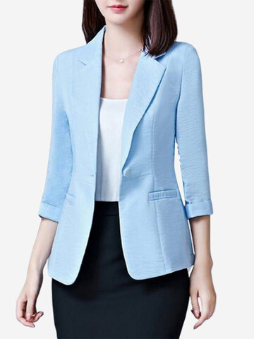 Solid Color Seven Points Sleeve Office Lady Suit