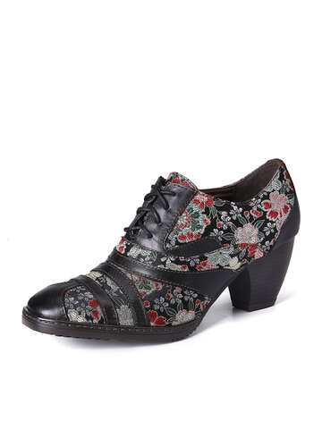 Retro Flower Low Heel Pumps