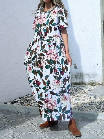فستان ماكسي فضفاض بأوراق الشجر