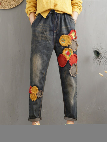 Vintage Patchwork Elastic Waist Denim, Grey