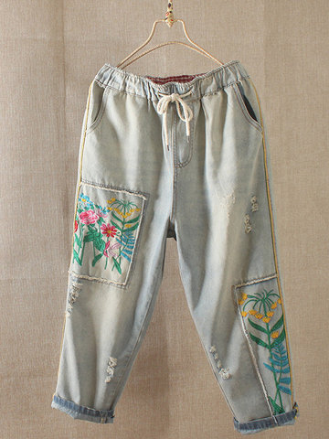 Jeans Denim Cintura Bordada Vintage Embroideried