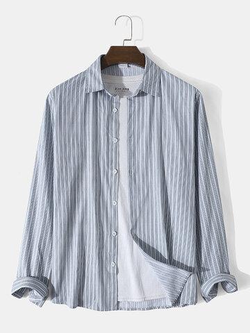 Vertical Stripe Lapel Cotton Shirts