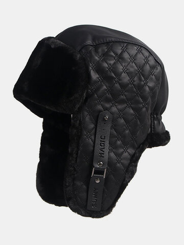 Men Faux Leather Cold-proof Winter Trapper Hat