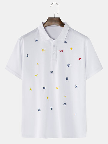 Cotton Small Pattern Embroidered Golf Shirt