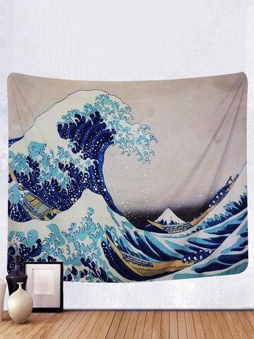 Tapiz colgante de pared gran ola Kanagawa tapiz arte decoración natural del hogar sala de estar dormitorio decoración del dormitorio