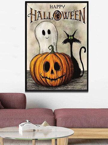 1 PC Unframed Pumpkin Black Cat Pattern Halloween Series Canvas Painting Wall Art Home Decor Wall Pictures