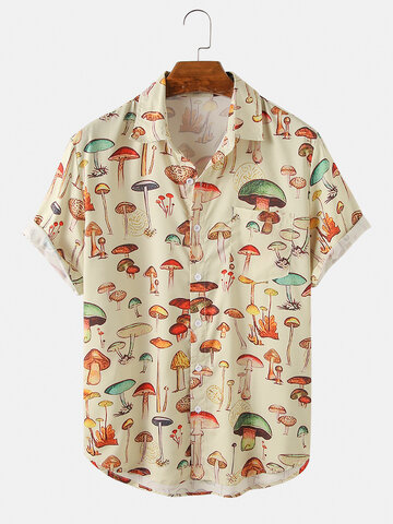 Herren Colorful Element Mushroom Pattern Print Loose Light Kurzarmhemden