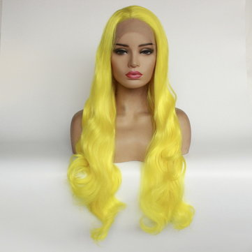 Oblique Branch Bright Yellow Long Curly Hair, Inches