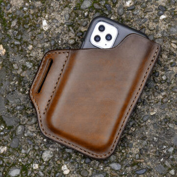 EDC Genuine Leather Retro 6.3 Inch Phone Bag