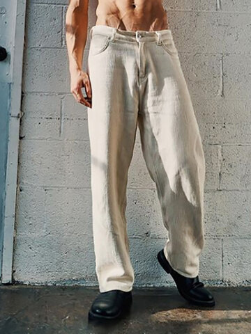 Plus Size Solid Straight-Leg Pants