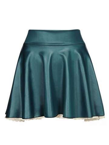 Women Sexy PU Leather Pleated Mini Skirt
