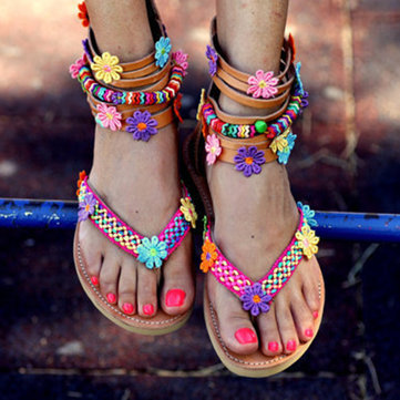 Flowers Ankle Zipper Flip Flops Sandals