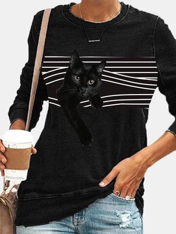 ヴィンテージキャットプリントOネックTシャツ