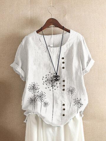 Kurzarm-T-Shirt mit Blumenmuster