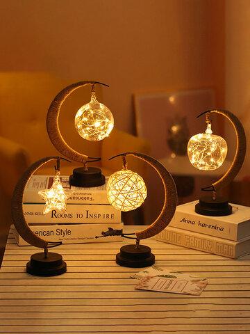 LED Stars Moon Lamp Rattan Ball Apple Night Light Handmade Hemp Rope Bedside Decorative Table Light Handmade Birthday Gifts Home Decor