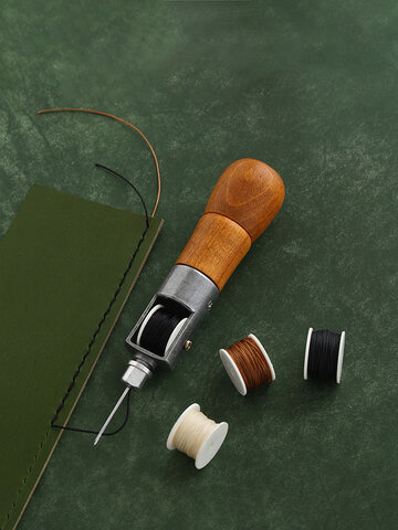 5PCS Wood Handle Leather DIY Sewing Awl Kit Hand Stitcher Professional Handmade Leather Sewing Machine Lock Stitching Tool Set
