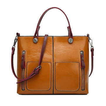 Oil Wax Leather Tote Bag