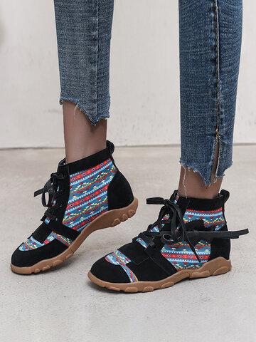 Lässiges ethnisches Muster Bequemer Knöchel Stiefel