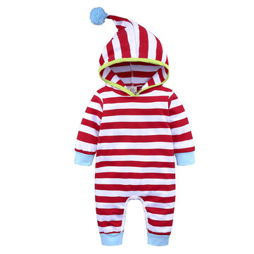 Striped Cotton Unisex Baby Romper For 0-24M