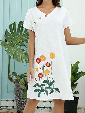 Flower Embroidery V-neck Button Dress