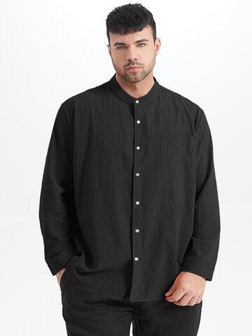 Pluz Size Cotton Solid Shirt