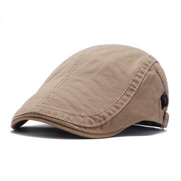 القطن الصلبة اللون قبعة البيريه