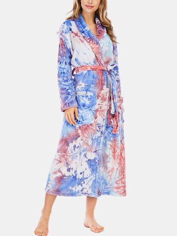 Tie-Dye Flannel Thick Robe
