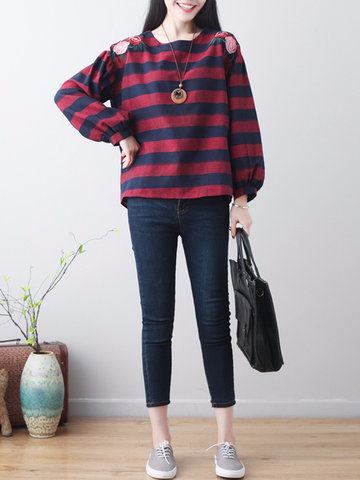 Embroidered Striped Print Blouse