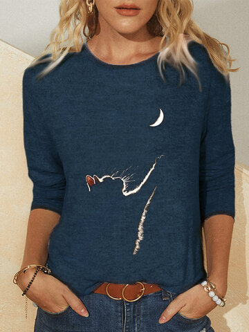 Cat Print Long Sleeves T-shirt