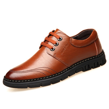 Men Microfiber Leather Round Toe Lace Up Casual Shoes
